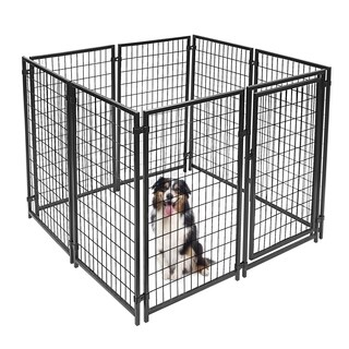 ALEKO 5'x5'x4' Dog Kennel Pet Playpen Chain Link Exercise Pen - black