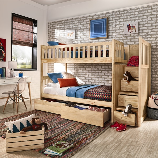 Shop Hunter Twin Over Twin Natural Wood Storage Staircase Bunk Bed