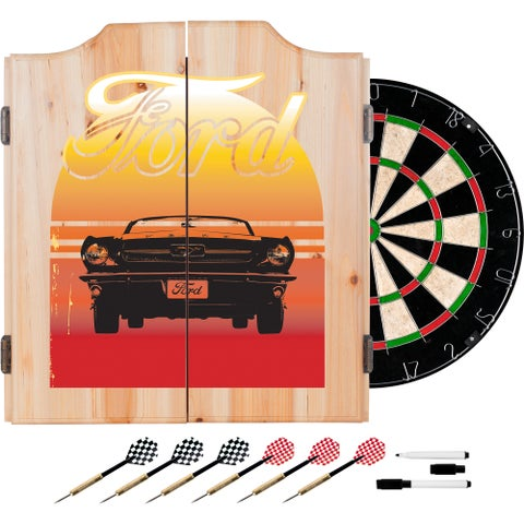 Ford Dart Cabinet Set with Darts and Board - Mustang