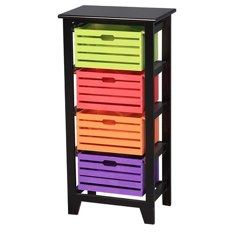 Four Color Drawer Wooden Cabinet