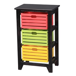 Three Drawer Mulitcolored Wooden Cabinet