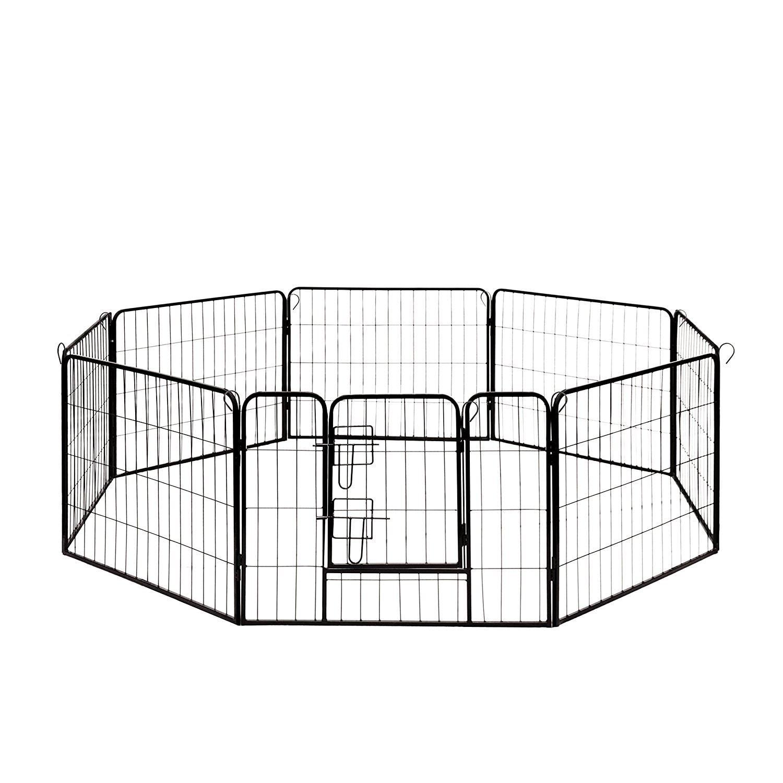 """Aleko Pet Playpen Dog Kennel Pen Cage Fence 8 Panel (32"""" ..."""