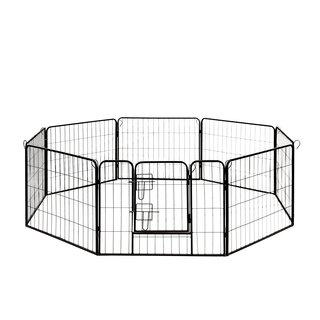 ALEKO Pet Playpen Dog Kennel Pen Cage Fence 8 Panel