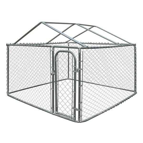 Shop ALEKO DIY Chain Link Box Dog Kennel Fence With Roof Frame ...