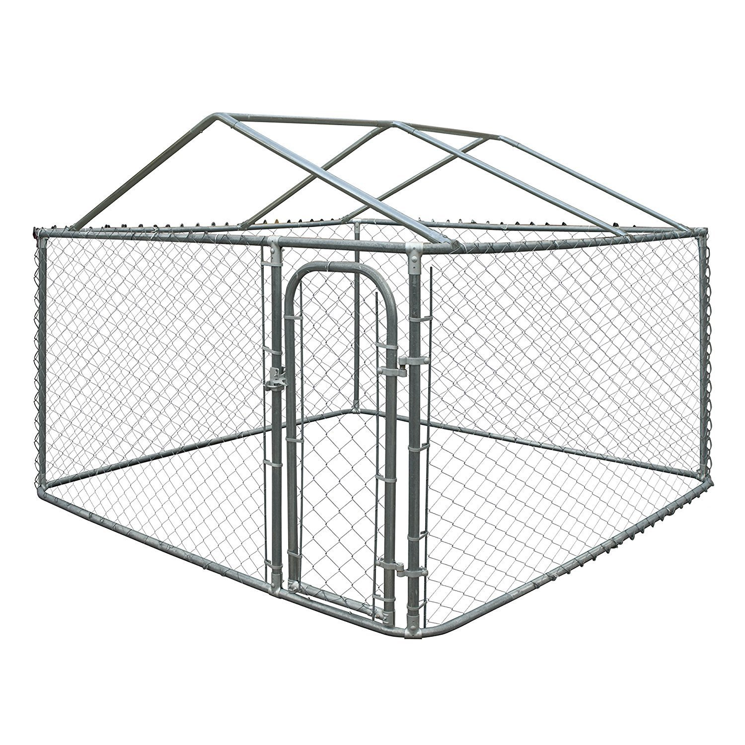 Aleko DIY Chain Link Box Dog Kennel Fence With Roof Frame...