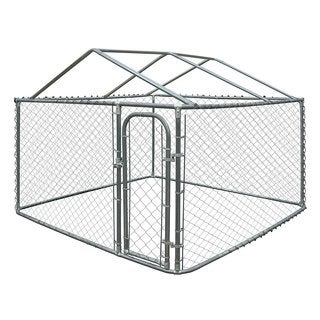 ALEKO DIY Chain Link Box Dog Kennel Fence With Roof Frame