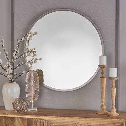 Attickus Circular Wall Mirror by Christopher Knight Home - Clear
