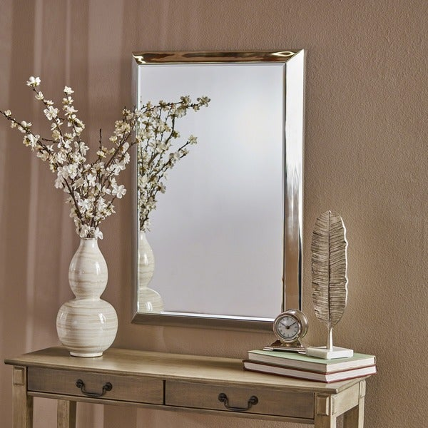 Edna Rectangular Wall Mirror with Stainless Steel Frame by Christopher Knight Home - Clear
