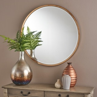 Abram Circular Wall Mirror By Christopher Knight Home   Gold