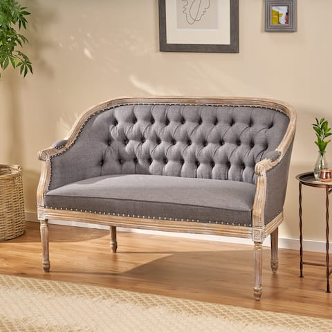 Faye Traditional Fabric Tufted Upholstered Loveseat by Christopher Knight Home