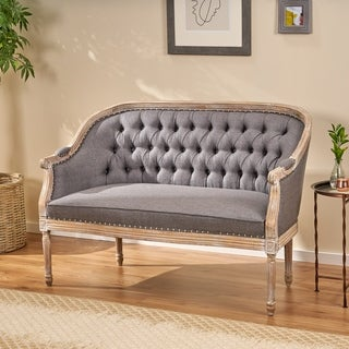 Faye Classical Tufted Fabric Loveseat by Christopher Knight Home