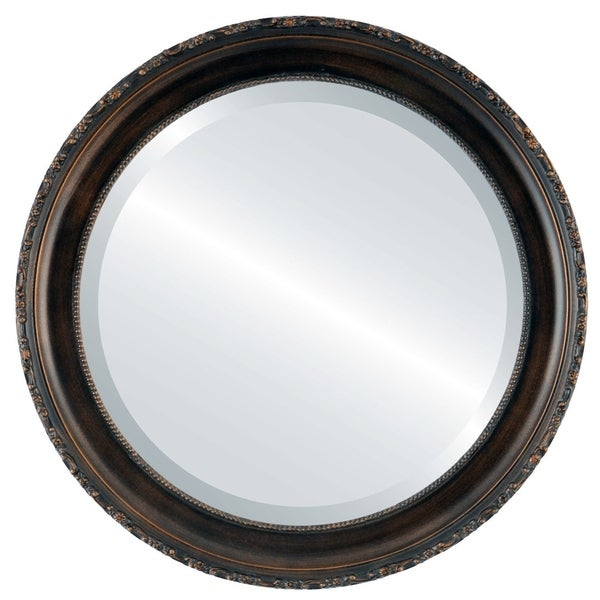 48 round mirror. Kensington Framed Round Mirror In Rubbed Bronze - Antique 48