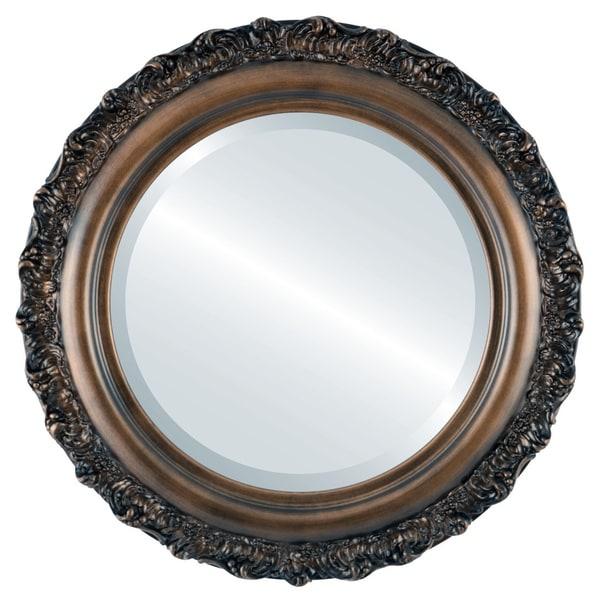 Venice Framed Round Mirror in Rubbed Bronze - Antique Bronze
