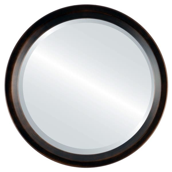 Shop Huntington Framed Round Mirror In Rubbed Bronze