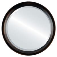 Huntington Framed Round Mirror in Rubbed Bronze - Antique Bronze