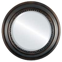 Chicago Framed Round Mirror in Rubbed Bronze - Antique Bronze