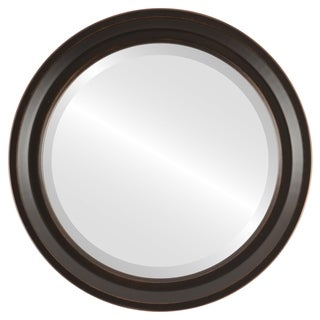 Newport Framed Round Mirror in Rubbed Bronze - Antique Bronze