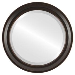 Newport Rubbed Antique Bronze Wood Framed Round Mirror