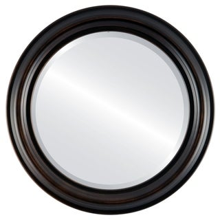 Philadelphia Framed Round Mirror in Rubbed Bronze - Antique Bronze