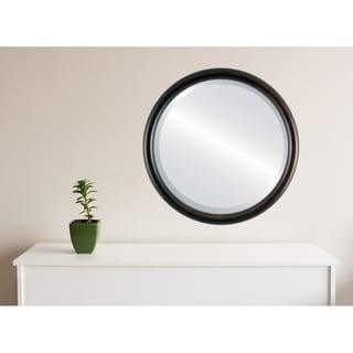 Pasadena Framed Round Mirror in Rubbed Bronze - Antique Bronze