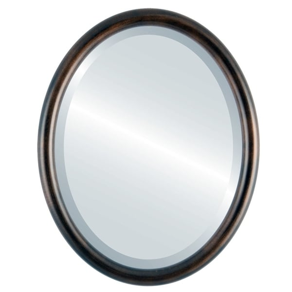 Pasadena Framed Oval Mirror in Rubbed Bronze - Antique Bronze