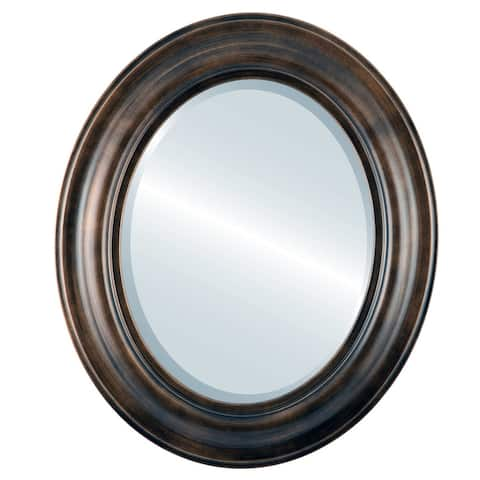 Lancaster Framed Oval Mirror in Rubbed Bronze - Antique Bronze