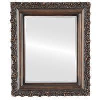 Venice Framed Round Mirror in Rubbed Bronze - Antique Bronze