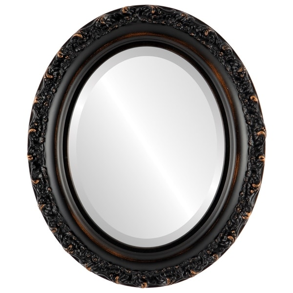 Venice Framed Oval Mirror in Rubbed Bronze - Antique Bronze