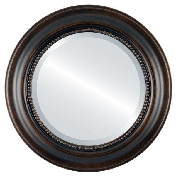 Heritage Framed Round Mirror in Rubbed Bronze - Antique Bronze