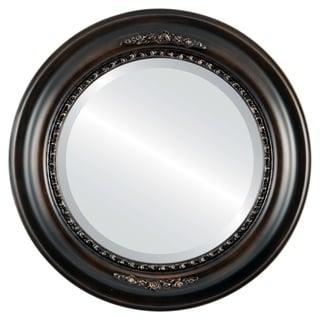 Boston Framed Round Mirror in Rubbed Bronze - Antique Bronze