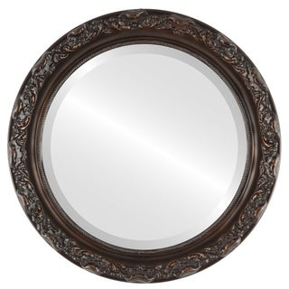 Rome Framed Round Mirror in Rubbed Bronze - Antique Bronze