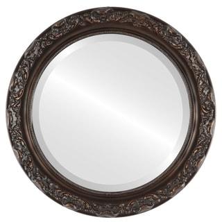 Rome Framed Round Mirror in Rubbed Bronze - Antique Bronze