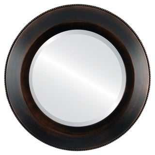 Lombardia Framed Round Mirror in Rubbed Bronze - Antique Bronze