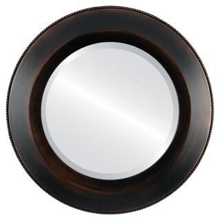 Lombardia Framed Antique Bronze Round Mirror
