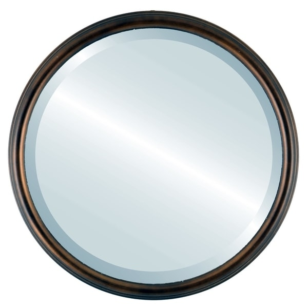 Hamilton Framed Round Mirror in Rubbed Bronze with Gold Lip - Antique Bronze