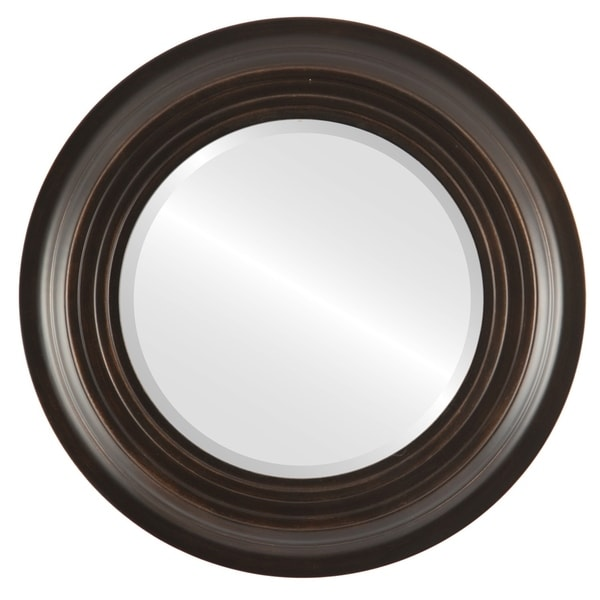 Imperial Framed Round Mirror in Rubbed Bronze - Antique Bronze