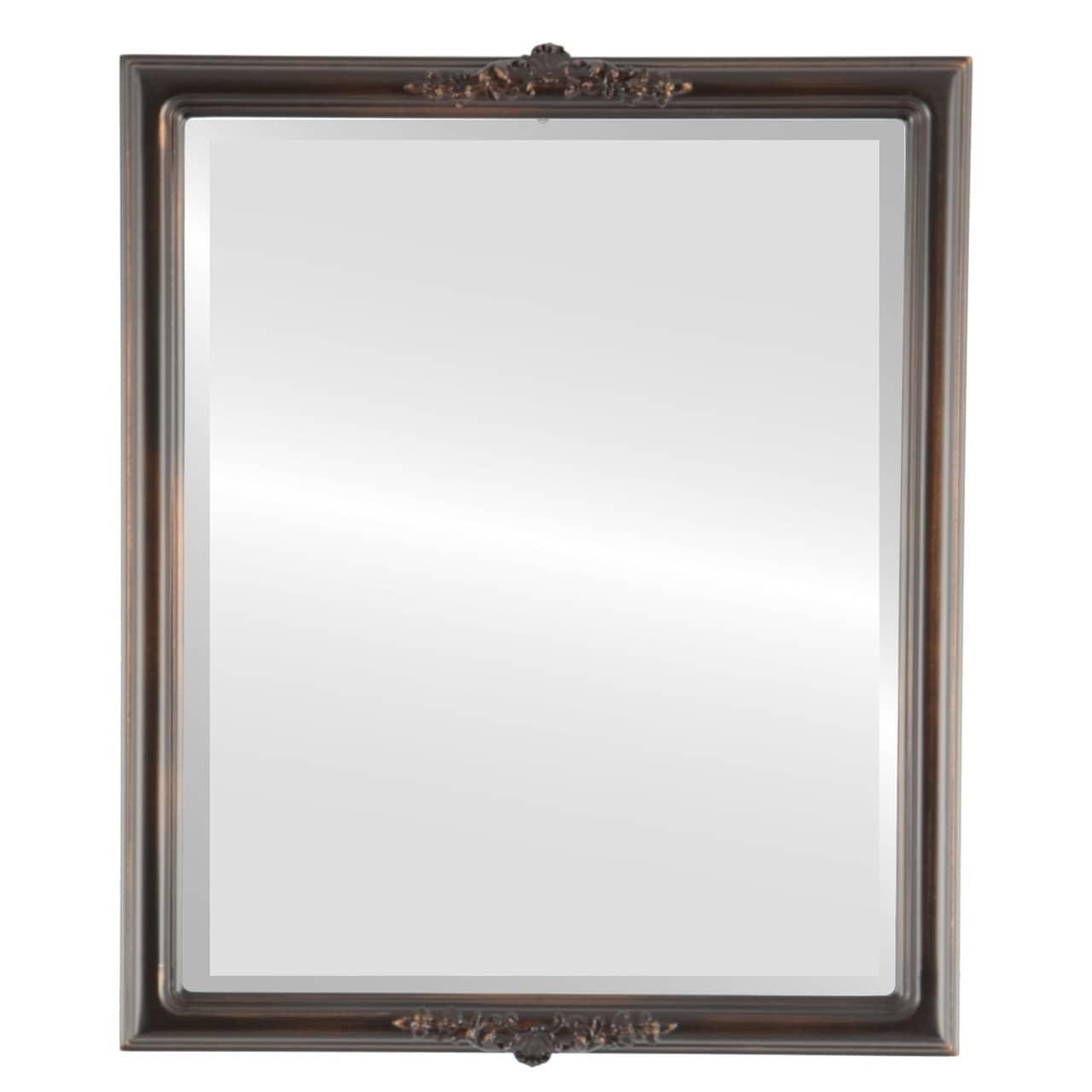 Contessa Framed Rectangle Mirror in Rubbed Bronze - Antique Bronze (17x21)