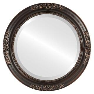 Versailles Rubbed Antique Bronze Wood Framed Round Mirror