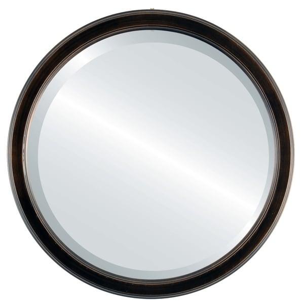 Toronto Framed Round Mirror in Rubbed Bronze - Antique Bronze