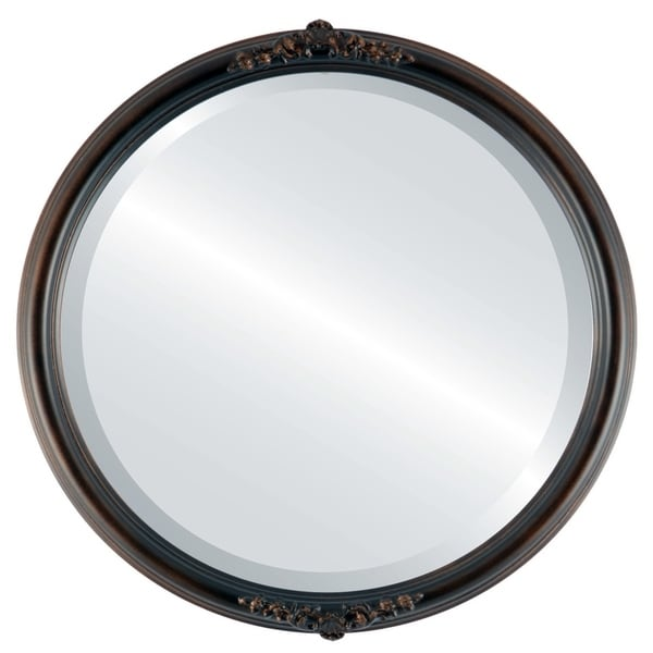 Contessa Framed Round Mirror in Rubbed Bronze - Antique Bronze