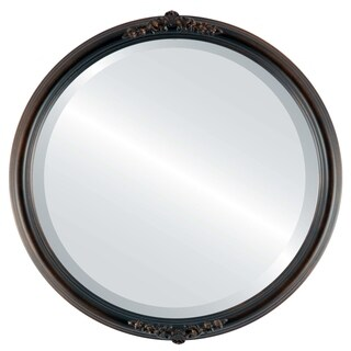 Contessa Antique Rubbed Bronze Framed Round Mirror