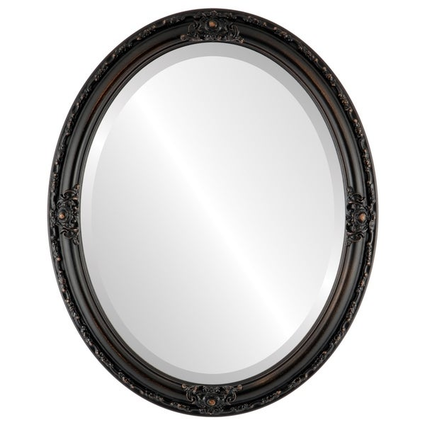 Jefferson Framed Oval Mirror in Rubbed Bronze - Antique Bronze. Opens flyout.
