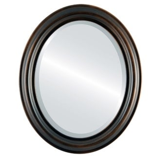 Philadelphia Framed Oval Mirror in Rubbed Bronze - Antique Bronze