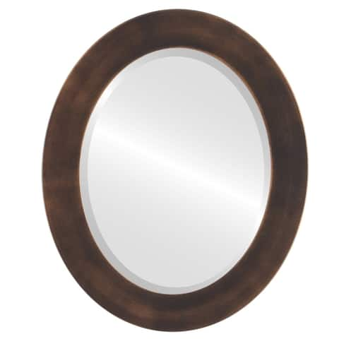 Cafe Framed Oval Mirror in Rubbed Bronze - Antique Bronze