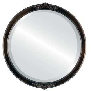 Athena Rubbed Antique Bronze Wood Framed Round Mirror
