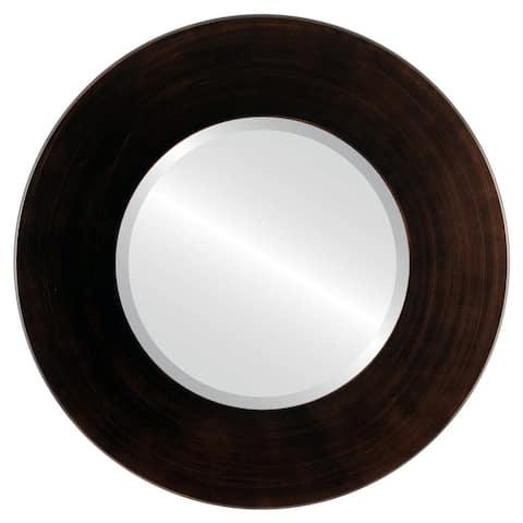 Boulevard Framed Round Mirror in Rubbed Bronze