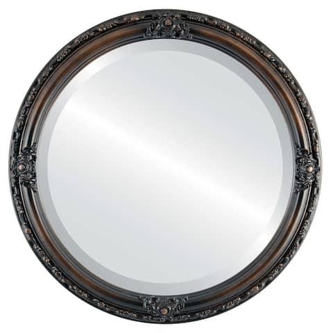 Jefferson Framed Round Mirror in Rubbed Bronze - Antique Bronze
