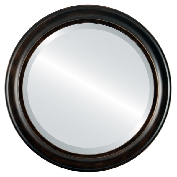 Messina Framed Round Mirror in Rubbed Bronze - Antique Bronze