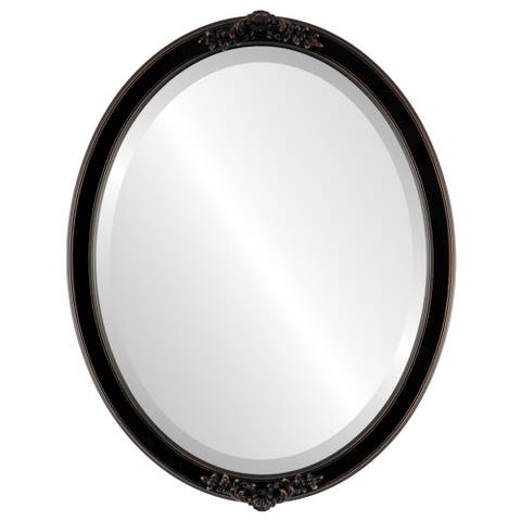 Athena Framed Oval Mirror in Rubbed Bronze - Antique Bronze
