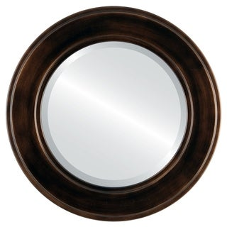 Montreal Framed Round Mirror in Rubbed Bronze - Antique Bronze